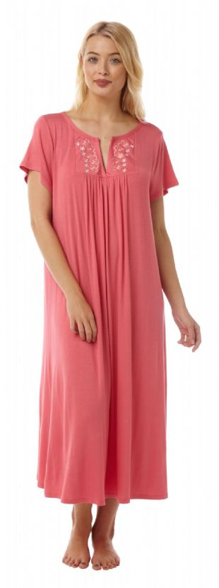 Ladies Long Nightdress Short Sleeves Coral Sizes 14 - 16